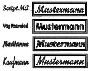 Stickerei Namensschilder