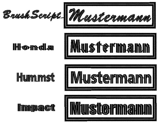 Namensschilder Schriftarten